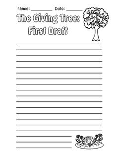 The Giving Tree First Draft Printable Worksheets