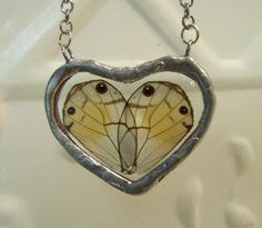 Heart Shaped Butterfly Wing Necklace  Gossamer by workofwhimsy