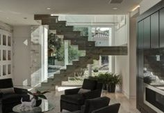 2012 New American Home - contemporary - living room - Phil Kean Designs - stairs Home Stairs Design, House Design, Stair Design, Railing Design, Living Room Designs, Living Spaces, Living Rooms, Interior Railings, Floating Stairs