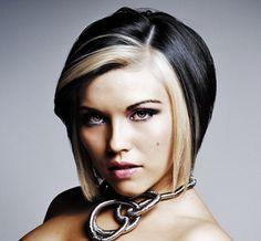 Dark hair with blonde bangs — 10