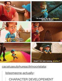 awww Fix it Felix character development Disney Pixar, Disney Marvel, Disney Animation, Disney And Dreamworks, Disney Magic, Punk Disney, Animation Movies, Funny Disney Memes, Disney Jokes