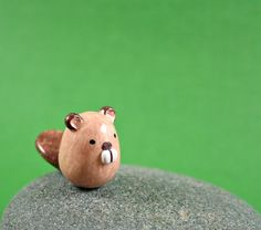 Little Beaver Hand Sculpted Miniature by MadeWithClayAndLove, $15.00