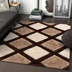 online shopping for Well Woven Parker Brown Geometric Boxes Thick Soft Plush Textured Shag Area Rug x from top store. See new offer for Well Woven Parker Brown Geometric Boxes Thick Soft Plush Textured Shag Area Rug x Cream Area Rug, White Area Rug, Beige Area Rugs, Living Room Carpet, Rugs In Living Room, Tapetes Diy, Bed Cover Design, Geometric Box, Affordable Area Rugs