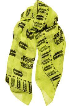 6bce2b4a53 McQ Alexander McQueen - Razor blade-print fine-woven scarf - Bleached Neon  Woven