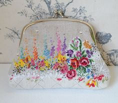 SALE >>> Purse : coin or clutch - hand embroidered garden - one of a kind embroidered artwork
