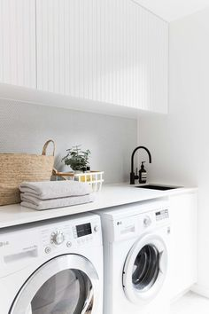 2 in Twelve Forever Home Bathrooms modern white laundry, matte black faucet, modern farmhouse laundry Vintage Laundry, Room Design, Laundry Mud Room, Interior, Home, Small Room Bedroom, Laundry, Living Room Designs, White Laundry Rooms