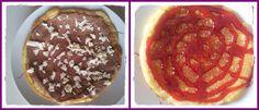 Tortita con nocilla y toppin de chocolate blanco y tortita con sirope de fresa, ummmm