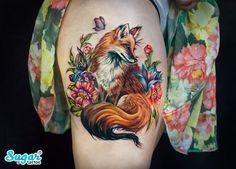Fox tattoo on thigh illustrations by Darya Sahar - Body Art Pretty Tattoos, Sexy Tattoos, Unique Tattoos, Beautiful Tattoos, Body Art Tattoos, Hand Tattoos, Sleeve Tattoos, Cool Tattoos, Tree Tattoos