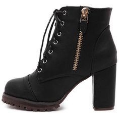 SheIn(sheinside) Black Lace Up Side Zipper Chunky Heels Ankle Boots (51 AUD) ❤ liked on Polyvore featuring shoes, boots, ankle booties, ankle boots, black, winter boots, short black boots, lace up ankle boots and black high heel booties
