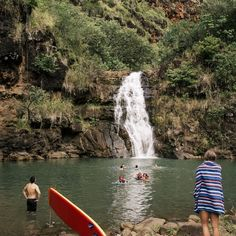 North Shore, Oahu, Hawaii- waterfall at the end of Waimea Canyon Hike.