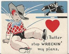 Vintage Cowboy valentine card.