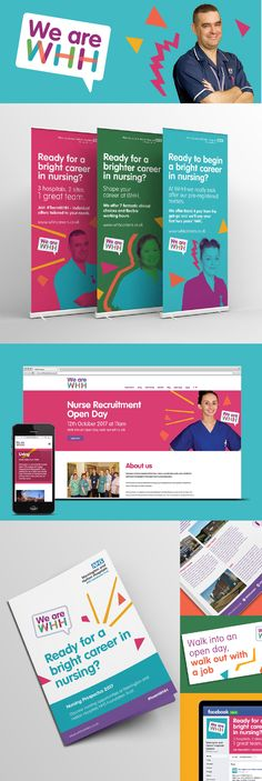 Nurse recruitment branding for Warrington & Halton Hospitals Recruitment Advertising, Flyer Design, Branding Design, Hospital Design, Job Ads, Promotional Design, Brand Inspiration, Design Case, Layouts