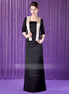 Sheath/Column Strapless Floor-Length Satin Mother of the Bride Dress (008018689) - JJsHouse