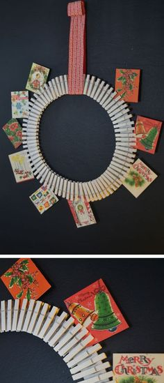 How to Make a Wreath/card holder/display with Clothespins  >> http://blog.diynetwork.com/tool-tips/2012/10/29/holiday-card-display-wreath/?soc=pinterest-greatwreath