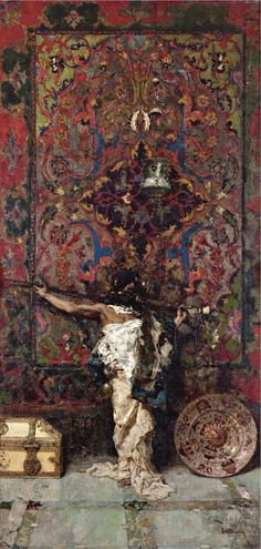 Marian Fortuny (1838-1874) Arab Before A Tapestry 1873 (150 by 75 cm)