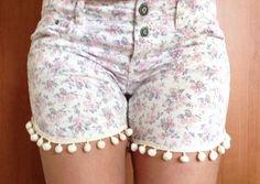 Lace applique shorts, upcycled denim shorts, flower print shorts, lace/ Boho/ Hippie by TheSpinningJennyShop on Etsy