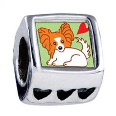 Cartoon Papillion Dog Heart European Charms  Fit pandora,trollbeads,chamilia,biagi and any customized bracelet/necklaces. #Jewelry #Fashion #Silver# handcraft #DIY #Accessory