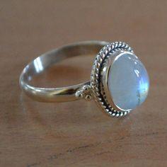 Rainbow Moonstone Ring Sterling Silver Rings by DevmuktiJewels