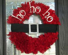 Santa Ho Ho Ho Wreath by FrazzledFabulous on Etsy, $60.00-inspiration, might not be too hard to recreate #Christmas