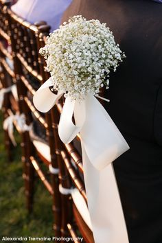 baby's breath aisle decor, Inspiration for Mobella Events, Wedding Planner… Wedding Pews, Wedding Chairs, Our Wedding, Wedding Engagement, Pew Flowers, Wedding Flowers, Cute Wedding Ideas, Perfect Wedding, Floral Event Design