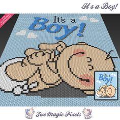 It's a Boy! crochet blanket pattern; knitting, cross stitch graph; pdf download…
