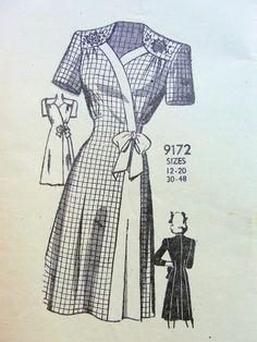 1940s Fashion Women, Retro Fashion, Vintage Fashion, Vintage Dress Patterns, Vintage Dresses, Vintage Outfits, 1940s Looks, Pattern Pictures, Vintage Wardrobe