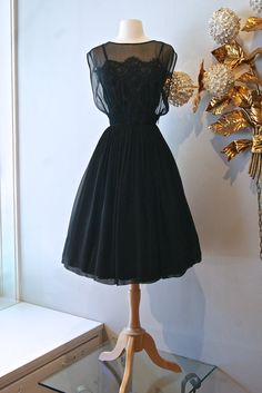 1950s Dress / Vintage 50s Black Illusion Lace and by xtabayvintage, $248.00