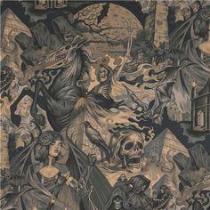 beige-grau-brauner Alexander Henry Gothic Totenkopf Stoff mit Dämonen 1