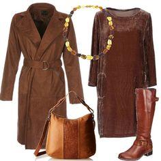I colori caldi della terra caratterizzano questo outfit che si compone di un vestito marrone in velluto, da indossare con un paio di stivali alti senza tacco, sempre marroni. Sopra, si può indossare un cappotto scamosciato, nella stessa tonalità, la borsa è bicolore, in un bel gioco di chiaroscuro e una collana con piccolo perline nei toni del marrone completa il tutto.