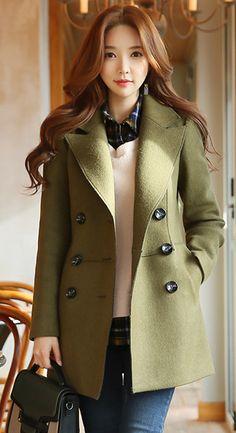 StyleOnme_Double-Breasted Tailored Wool Coat #khaki #green #koreanfashion #kstyle #tailored #wool #coat #elegant #seoul #dailylook
