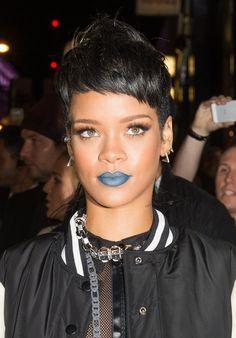 rihanna, rihanna makeup short hair, blue lipstick, makeup, varsity jacket, streetstyle