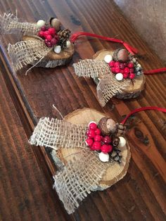 Set of Three Christmas Ornaments Christmas Decorations Etsy Western Christmas, Rustic Christmas, Christmas Fun, Diy Christmas Ornaments, Christmas Tree Decorations, Christmas Wreaths, Homemade Christmas Tree, Christmas Projects, Holiday Crafts