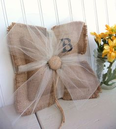 BURLAP ring bearer pillow custom monogram by SophiasSignBoutique