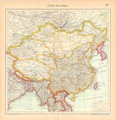 1930s Large Antique Map of China by CarambasVintage, $25.00