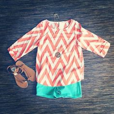 chevron top + aqua shorts