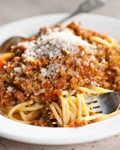 Bolognese Sauce - I used red wine instead of white and would use beef or veggie broth instead of chicken broth if I were to simmer it for more than an hour; ultimately it was delicious.
