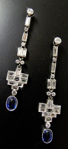 A PAIR OF ART DECO PLATINUM, SAPPHIRE AND DIAMOND EARRINGS, CIRCA 1925. #ArtDeco #earrings
