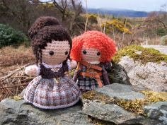 CLAIRE FRASER Outlander Amigurumi Crochet Doll Lallybroch Highlands Yarn Kawaii Art Doll Mixed Media Scotland Time Traveller Jamie Fraser