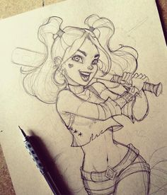 Illustration by Harley Quinn. Our perfect drawing. - Jeena F. - Illustration by Harley Quinn. Our perfect drawing. Comic Kunst, Comic Art, Comic Style Art, Comic Book, Art Drawings Sketches, Cute Drawings, Drawing Art, Awesome Drawings, Disney Pencil Drawings
