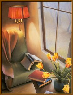 Rainy Day Consolations by Deborah DeWit. Just add a mug of steaming coffee! Reading Art, I Love Reading, Reading Nook, Girl Reading, I Love Books, Books To Read, My Books, World Of Books, Book Nooks