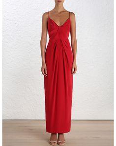 Silk v long dress zimmermann designer