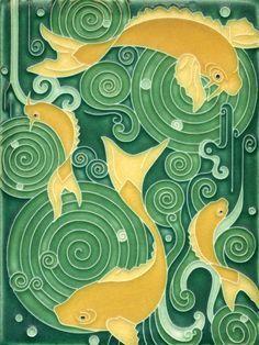 Koi Pond in Green Motawi Tile ~ Japanese Koi symbolize good luck, longevity & prosperity Japanese Theme, Japanese Koi, Japanese Dragon, Koi Art, Fish Art, Koi Kunst, Azulejos Art Nouveau, Posca Art, Art Nouveau Tiles