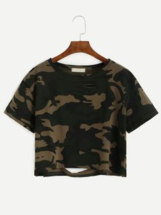 T-Shirt Ritagliato Strappato Stampa Camuffato