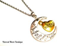I Love You to the Moon and Back Pendant Silver Necklace Crescent Moon Gold Heart Gift for Sister Handmade Angie Pinkal Stocking Stuffer Yule by AngiePinkal