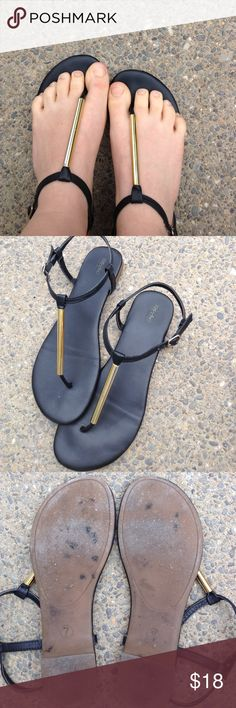 Black & Gold Mossimo Sandals Very comfortable, perfect for the coming summer, and the colors go with everything! Now flaws, soles aren't worn down, I just walked around a little bit outside and they got dusty. Offers are welcome!😊 Mossimo Supply Co Shoes Sandals