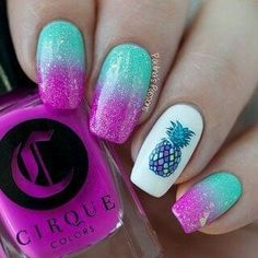 False nails have the advantage of offering a manicure worthy of the most advanced backstage and to hold longer than a simple nail polish. The problem is how to remove them without damaging your nails. Pineapple Nail Design, Pineapple Nails, Trendy Nail Art, Cute Nail Art, Nail Art Kids, Trendy Hair, Acrylic Nail Designs, Nail Art Designs, Nails Design