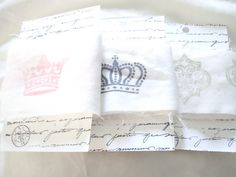 Sheets torn and stamped - make great ribbon