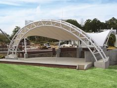 Ptfe architectural membrane / for tensile structures / for public spaces / roof - meridian amphitheater at cascades park Tensile Structures, Outdoor Structures, Membrane Structure, Shell Structure, Cascade Park, Outdoor Theater, Outdoor Stage, Gazebo Roof, Fibreglass Roof