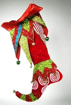 Red cuff beaded Stocking