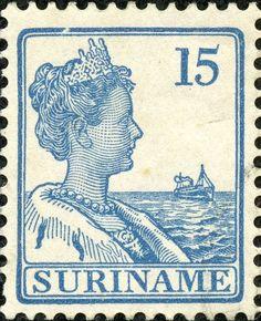 "Suriname 1926 Scott 96 15c light blue ""Wilhelmina"""